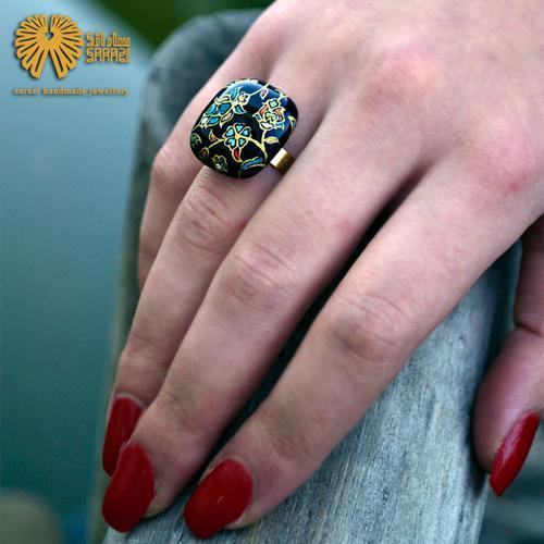انگشتر زنانه طرح اسلیمی رنگین