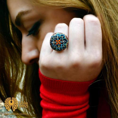 انگشتر زنانه طرح فیروزه چهارپر