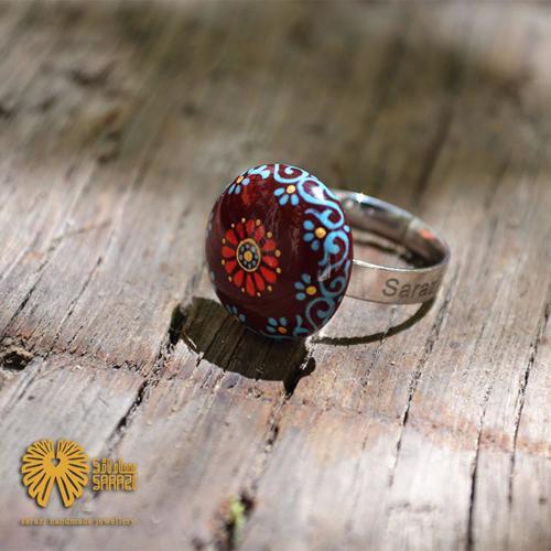 انگشتر زنانه طرح لوتوس رنگین