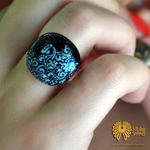 انگشتر زنانه طرح پیچک نیمه