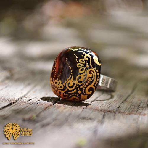 انگشتر زنانه طرح کنج طلایی