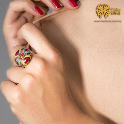 انگشتر زنانه طرح قالی مینا