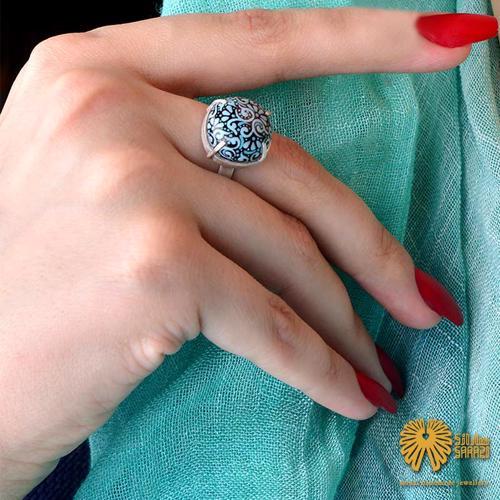 انگشتر زنانه طرح پیچک فیروزهای