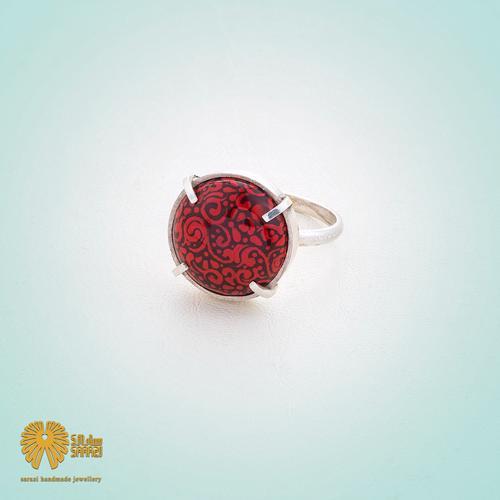 انگشتر زنانه طرح پیچک قرمز