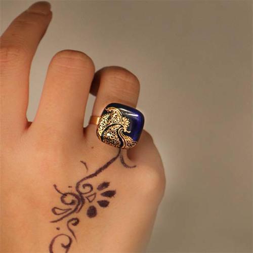انگشتر زنانه طرح بته لمیده